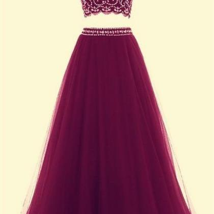 Two Pieces A-line Tulle Prom Dresse..