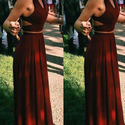 Simple Two Pieces Prom Dresses, Lo..