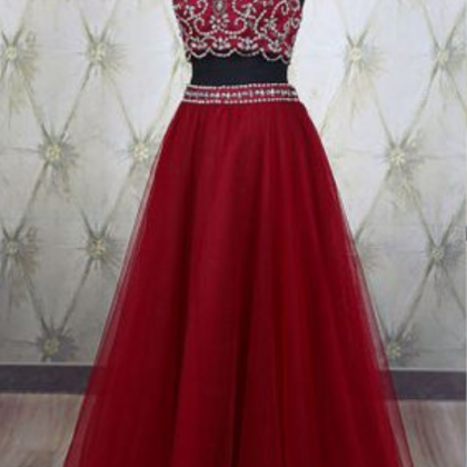 2 Piece Prom Gown,Two Piece Prom D..