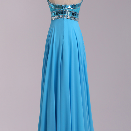 Blue Prom Dresses,Beaded Evening D..