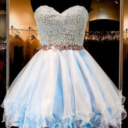Tulle Homecoming Dress,Lace Homeco..