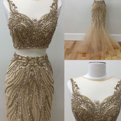 Gold beads two pieces prom dress, ..