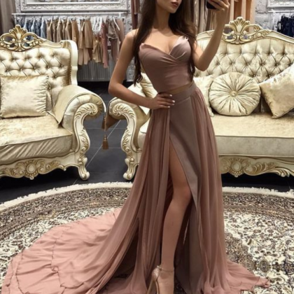 High Slit Formal Dress,A Line Prom ..