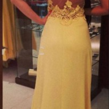 Yellow Lace Prom Dresses, See Throu..