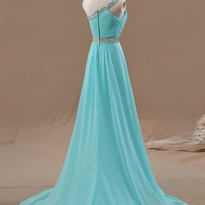 One Shoulder Prom Dresses,Beaded Ev..