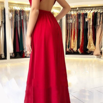 Red Chiffon Prom Dresses Long A-lin..