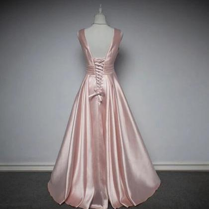 Satin V-Neckline Long Party Dress,..