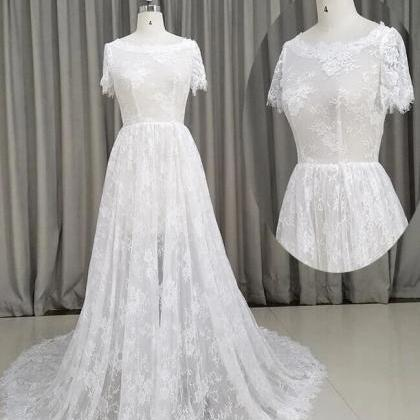 Beautiful Lace Short Sleeves See Th..