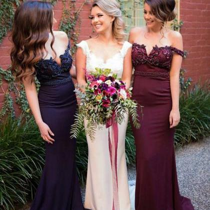 Off Shoulder Beaded Bridesmaid Prom..
