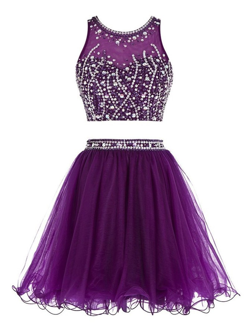68d773c52fb Homecoming Dresses Purple Grade Graduation Dresses Plus Size Sexy Two Piece  Dress Homecoming