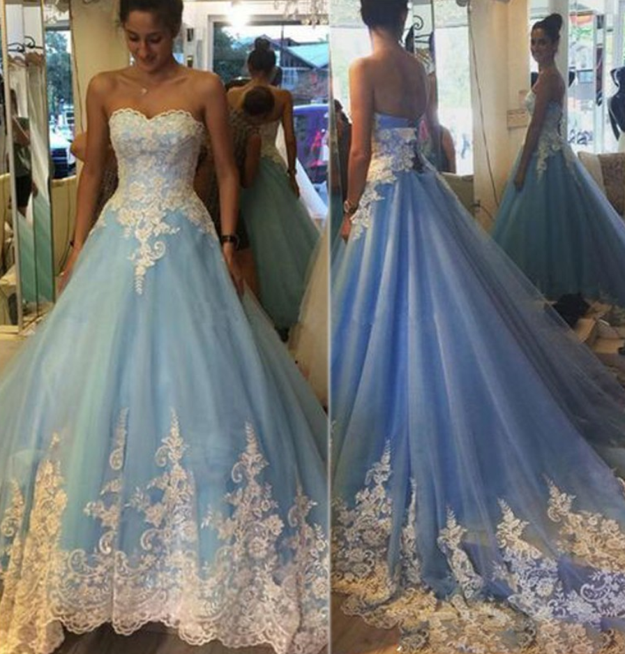 Prom Dresses,Prom Dress,Modest Prom Gown,Lace-Appliques Elegant ...