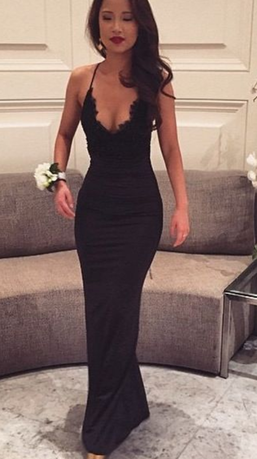 Black Prom Dresses,Mermaid Prom Dress,Lace Prom Dress,Backless Evening Gowns