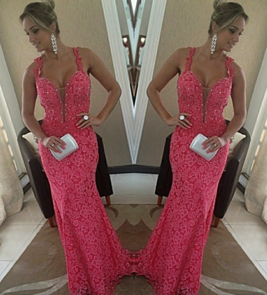 Lace Prom Dresses,Pink Evening Dress,Mermaid Prom Dress,Straps Prom Dresses,Charming Prom Gown,Beads Prom Dress,2016 Fashion Evening Gowns for Teens