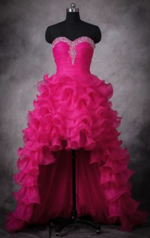 High Low Prom Dresses,Hot Pink Wedding