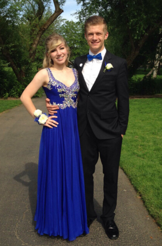 New Arrival V Neck A Line Prom Dress,Royal Blue Chiffon Prom Dresses with Beaded,Long Prom Dress
