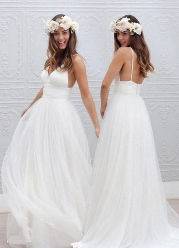 Sweetheart Wedding Dress Spaghetti Strap Wedding Gowns Backless