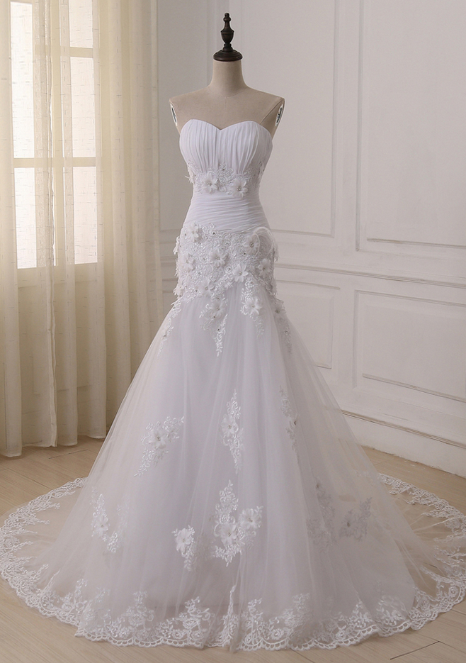 Ustom Made Luxurious Lace Appliques Flowers Mermaid Wedding Dress ...