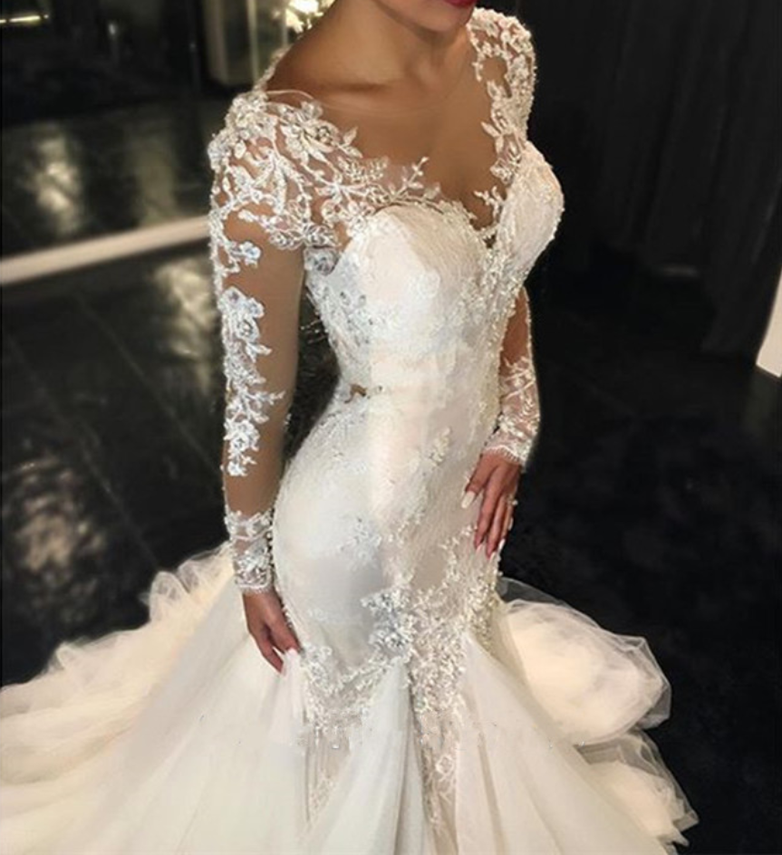 Sexy Illusion Back Long Sleeves Lace Mermaid Wedding Dresses 2016 Custom Made