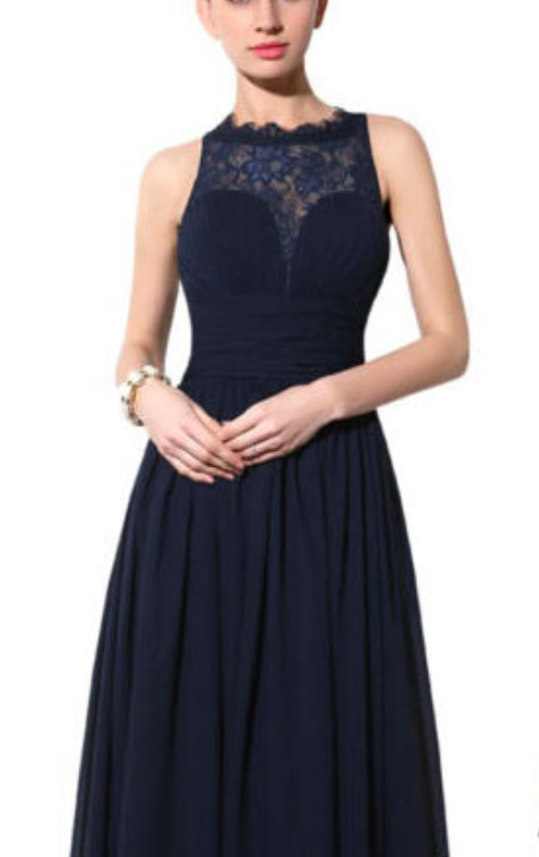 Free Shipping Navy Blue Lace Bridesmaid Dressillusion Lace Dark Navy Blue Prom Dressa Line Evening Dresscheap Party Dress