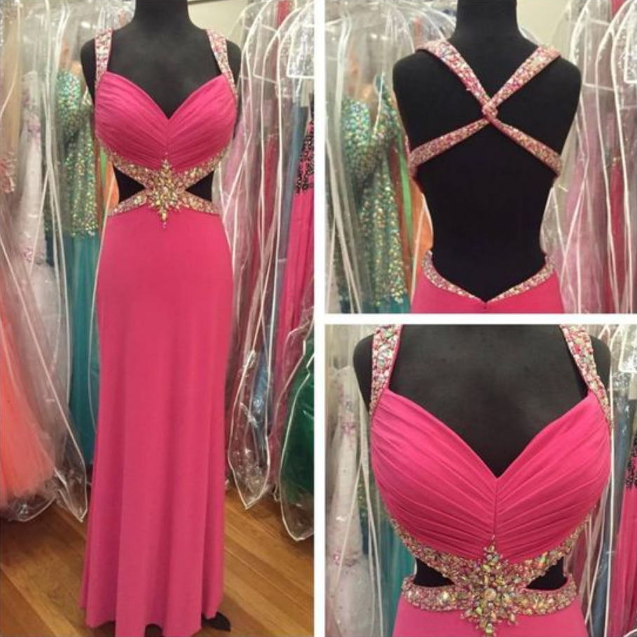 Real Iamge Prom Dresses New Sexy Cheap A-line Fuchsia/Hot Pink Sweetheart Beads Rhinestones Backless Long Chiffon Formal Party Gowns