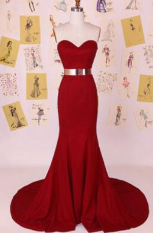 Custom Made Red Chiffon Strapless Sweetheart Neckline Mermaid Evening Dress with Gold Belt, Bridesmaid Dresses, Weddings, Prom Dresses