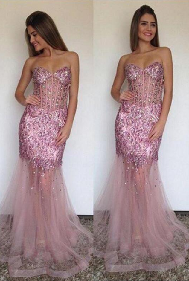 Custom Made Pink Sequin Sweetheart Neckline Sheer Tulle Long Evening Dress , Bridesmaid Dresses, Weddings, Prom Dresses