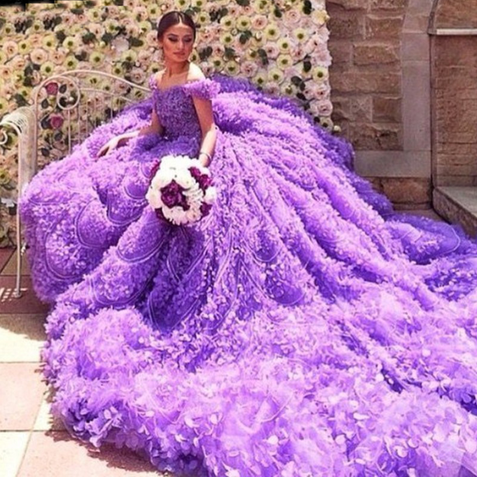 Cheap wedding dresses Real Gorgeous Purple Ball Gown Luxury Scoop Off the Shoulder Beaded Crystal Flowers Wedding Dresses