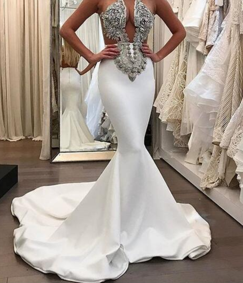 Stunning Mermaid Satin Wedding Dresses Beading CrystalsGorgeous Bridal Gowns