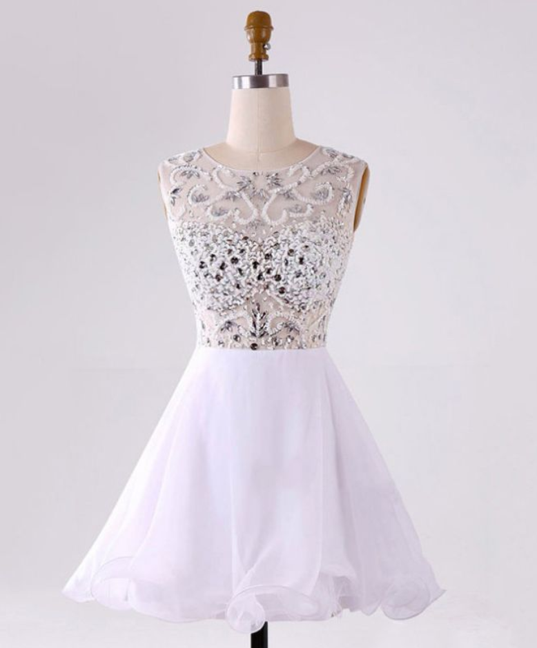 9166b5371ed White Homecoming Dresses Zippers Sleeveless A lines Bateau Mini Chiffon  Crystal Beads Ruffle