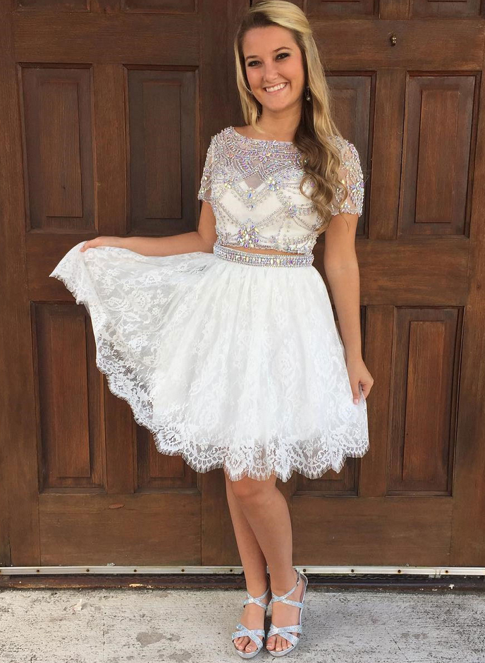 A-line Two-piece Shiny Rhinestone Homecoming Dresses Lace mini Dresses