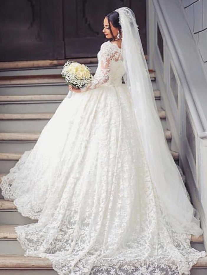 Cheap wedding dresses vestido de noiva Lace Wedding Dresses with Long Sleeves robe de mariage Cheap High Quality Vintage Wedding Gowns China