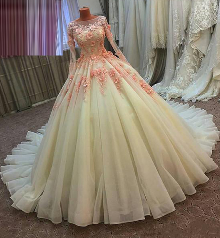 Vintage Ball Gown Prom Dress,Real Photo 3D Floral Handmade Flowers ...