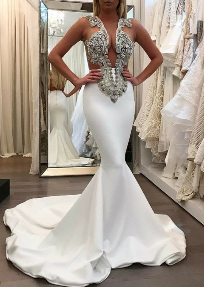 f53d89d378ac9 white mermaid prom party gowns, chic fashion formal gowns, sexy deep neck evening  gowns with appliques beaded, gorgeous prom dresses