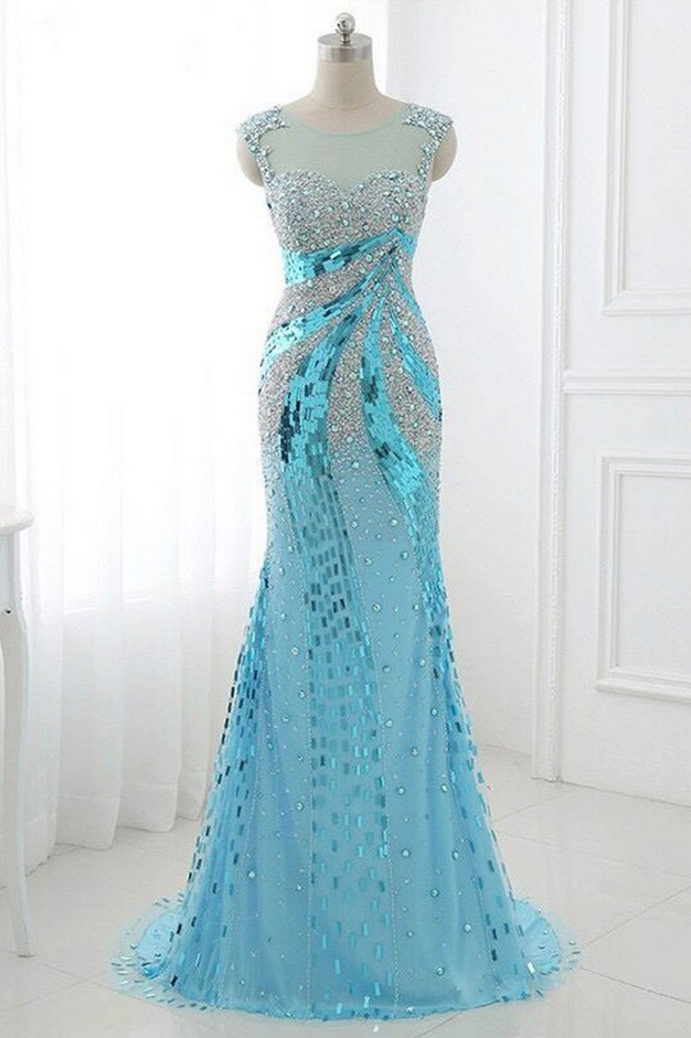 Light blue chiffon beading sequins see-through long dresses,evening dresses for prom