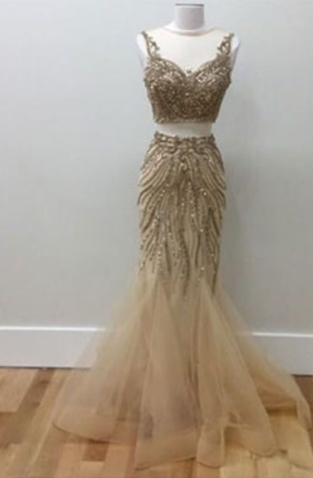 Gold beads two pieces prom dress, tulle evening dress for teens