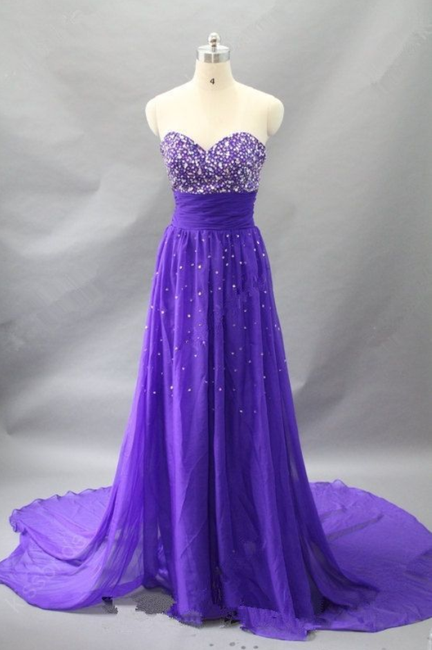 High Quality Sparkle Purple Prom Gown Sparkle Prom Dressesevening
