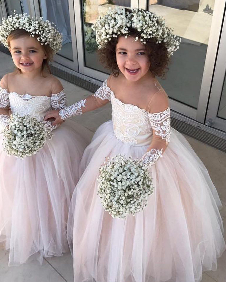 b8139ae5c9 Flower Girl Dress Light Pink Flower Girl Dresses 2018 Lace Appliques Ball  Gown Long Sleeves Girls