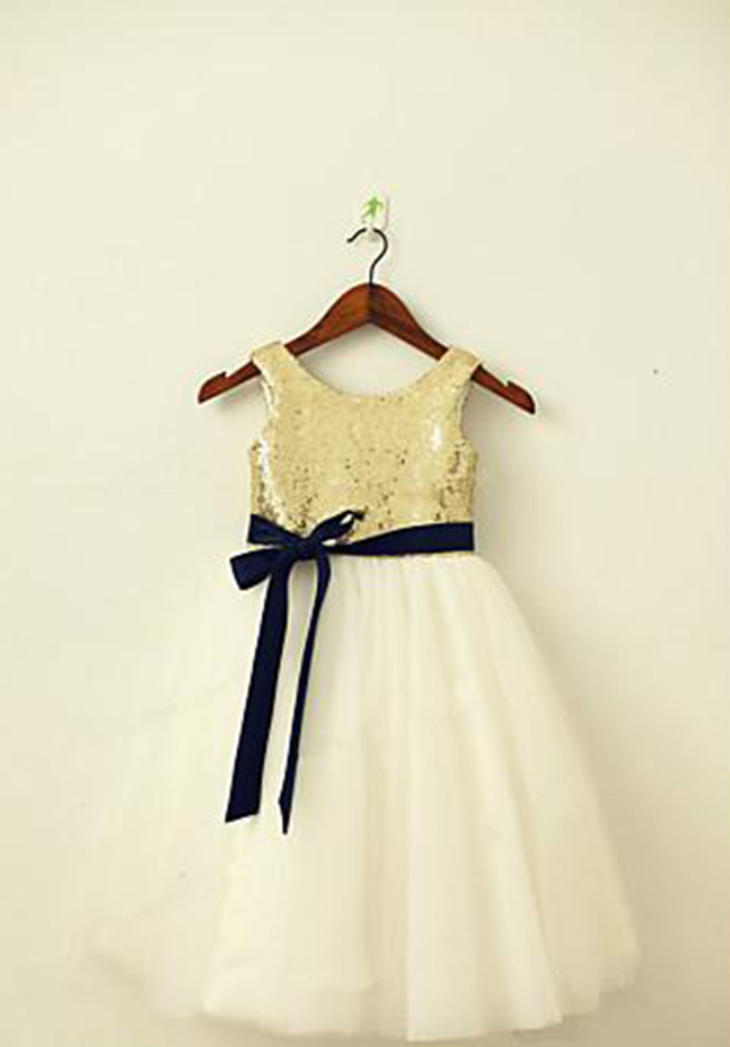 33abad8437f Flower Girls Dresses With Navy Blue Sash