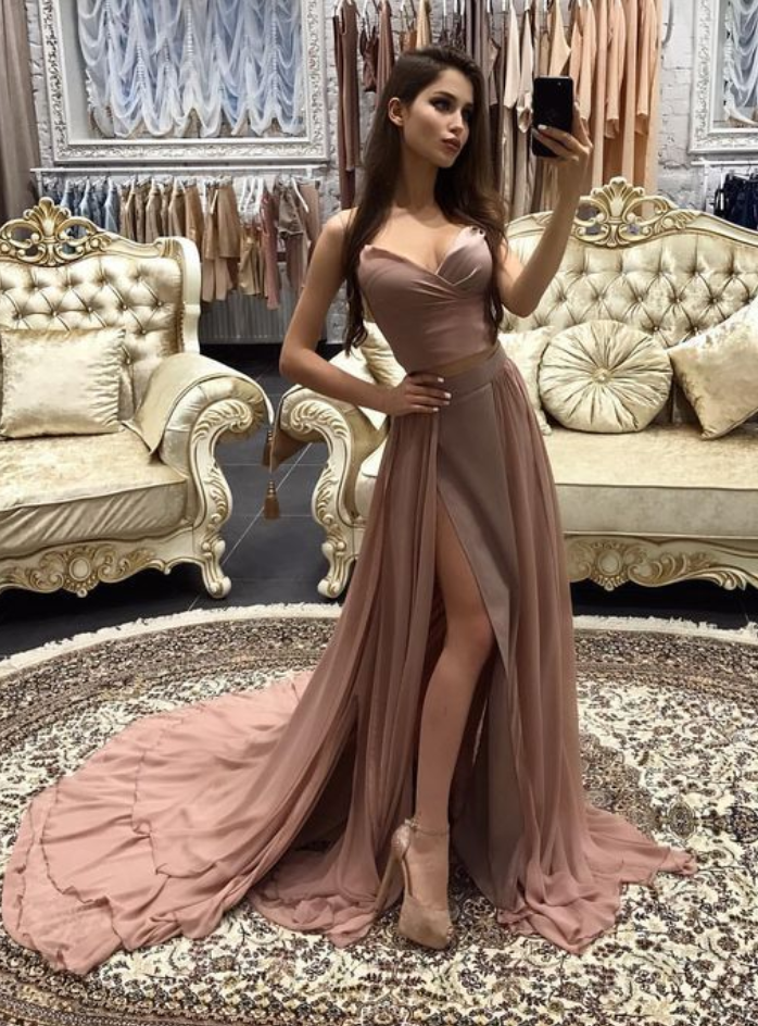 High Slit Formal Dress,A Line Prom Dresses,Prom Dress With Split
