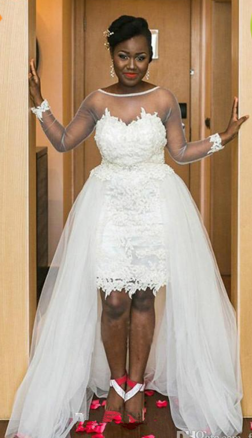 Elegant White Colour Lace Tulle Wedding Dress With Detachable Skirt
