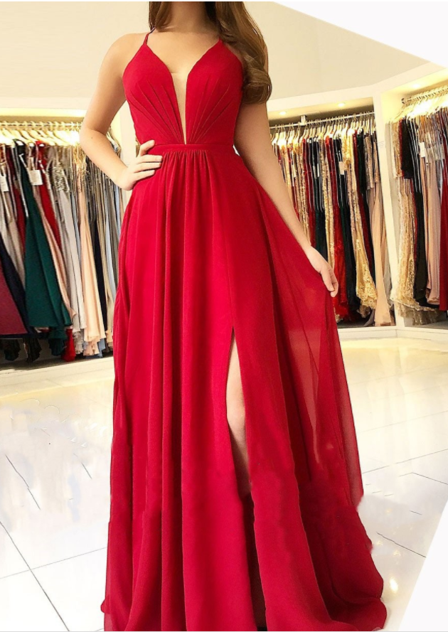 Red Chiffon Prom Dresses Long A-line Evening Dresses V Neck Formal Gowns Sexy Backless Party Graduation Dresses with Front Slit