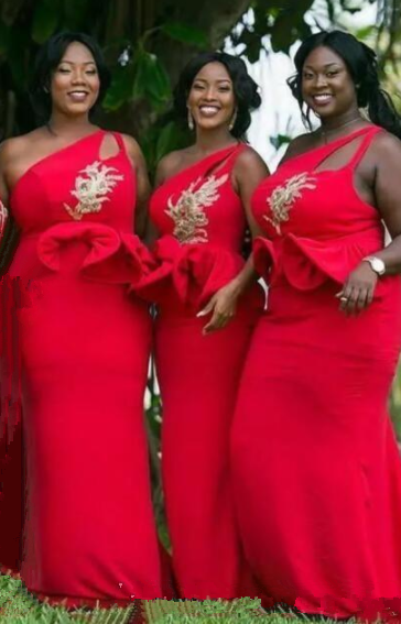 b822f33486a 30% OFF. Plus Size Red Mermaid Bridesmaid Dresses One Shoulder Side Split  Sweep Train Gold Appliques Long Garden