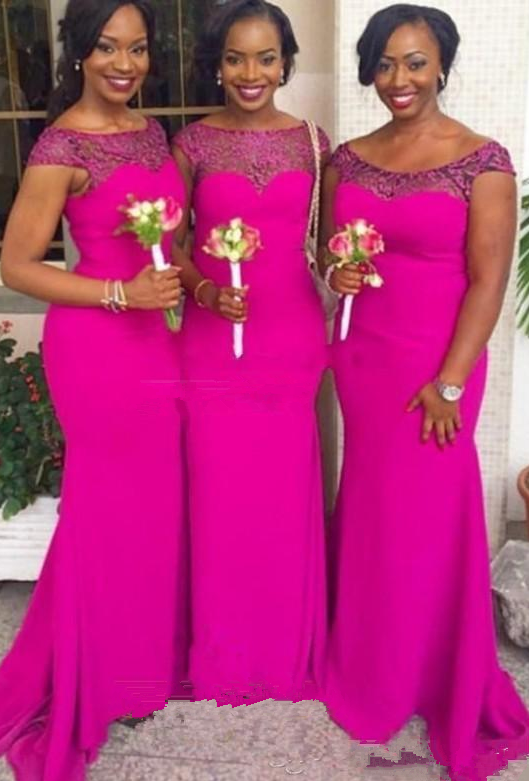 e79be9f120e 30% OFF. Plus Size Cheap Mermaid Bridesmaid Dresses Fuschia Chiffon Beaded  Maid of the Honor Wedding Dresses Cap