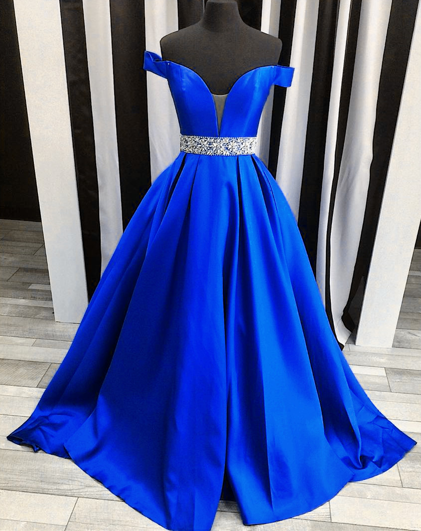 sexy off the shoulder satin ball gowns prom evening dresses 2017 Prom Dresses