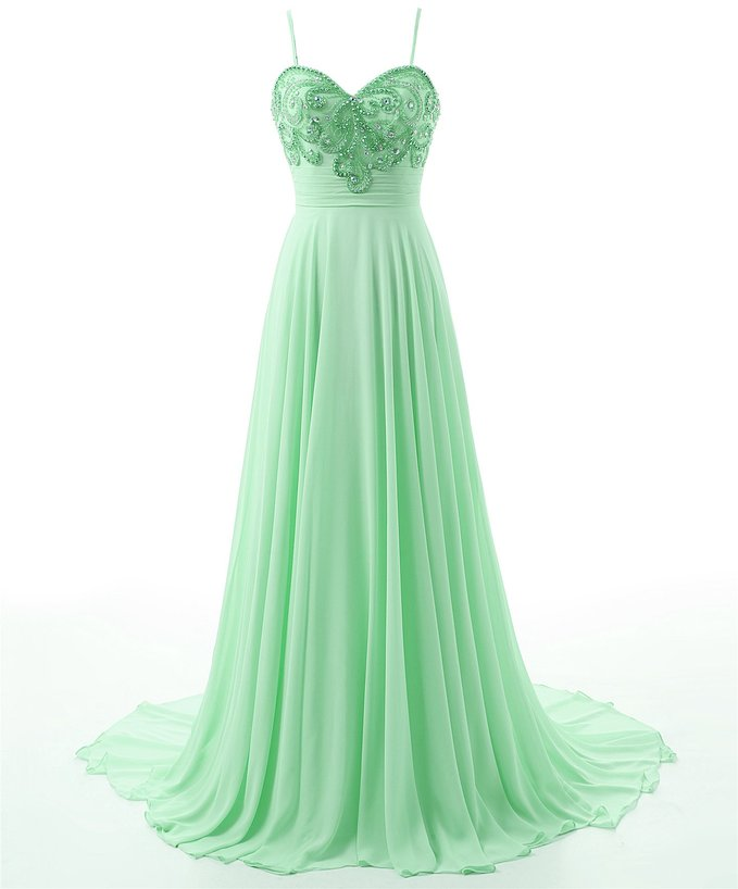 c50ee6a7a37 Floor Length Light Green Formal Dresses Showcases Spaghetti Straps Beaded  Bodice