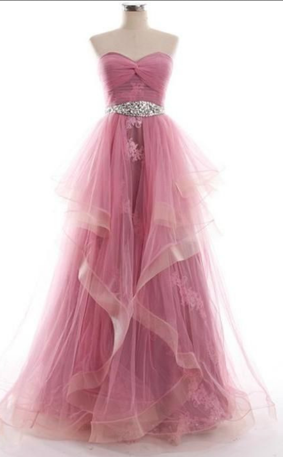 Strapless Sweetheart Long Prom Dress with Twist Knot Bodice and Jewel Waistband