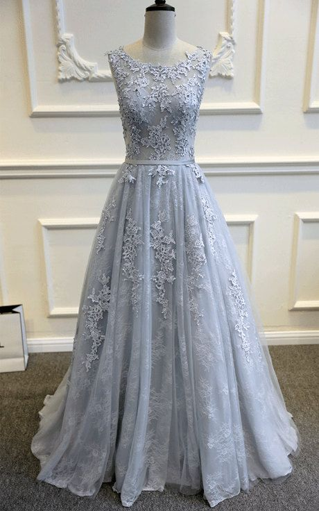 Gray Blue Lace Wedding Dress Elegant Gown A Line Tulle Custom Made Dusty