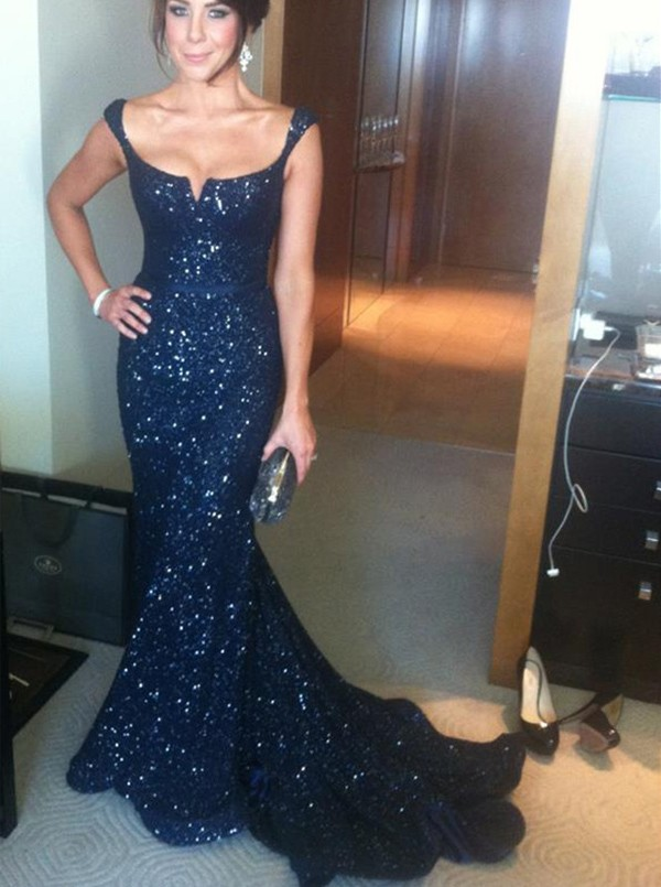 New Arrival Prom Dresses, Stunning Sequins Prom Dress, Navy Blue ...