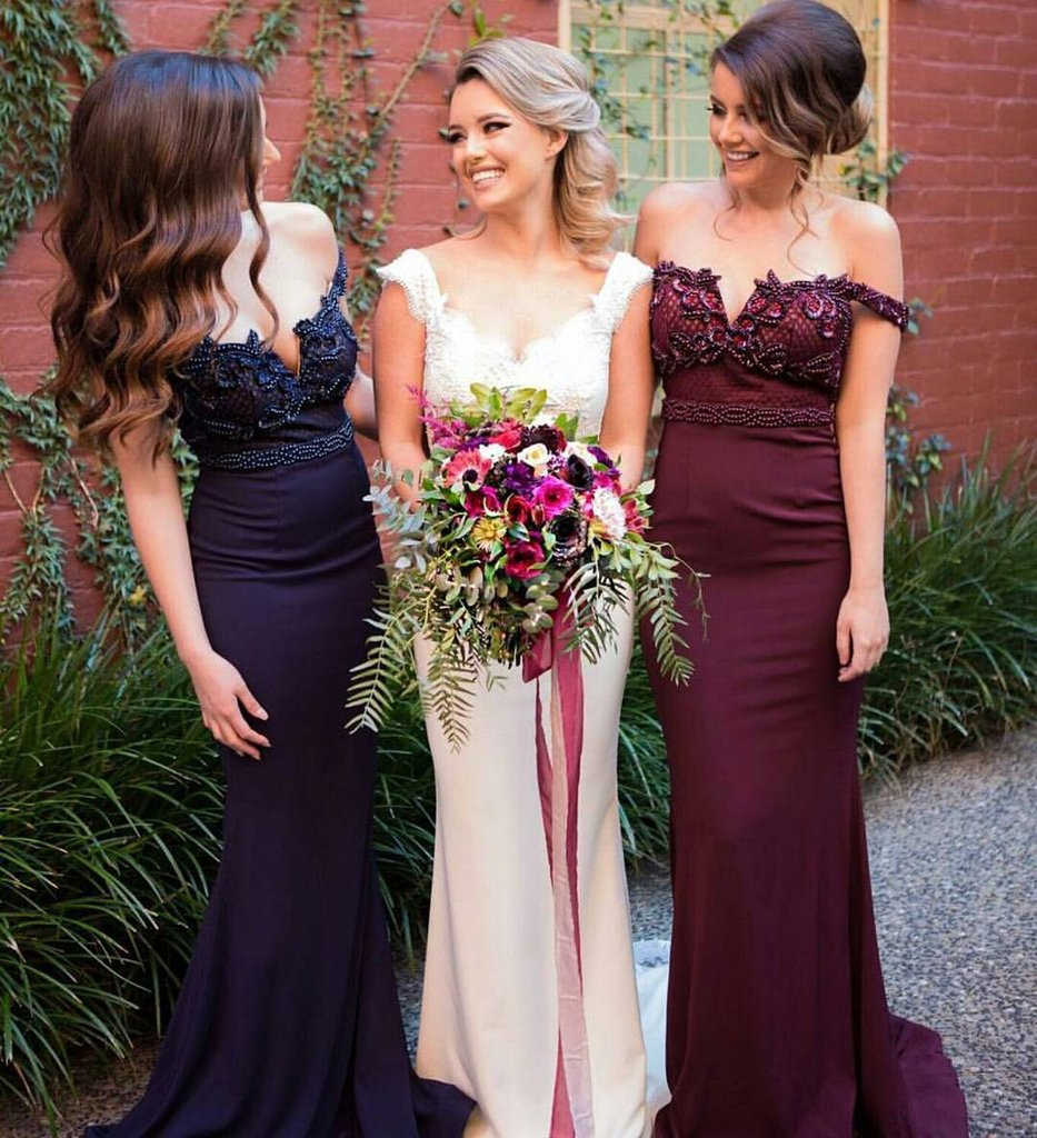 Off Shoulder Beaded Bridesmaid Prom Dresses, Sexy Mermaid Bridesmaid Dresses, Prom Dresses, Popular Bridesmaid Dresses, Bridesmaid Dresses