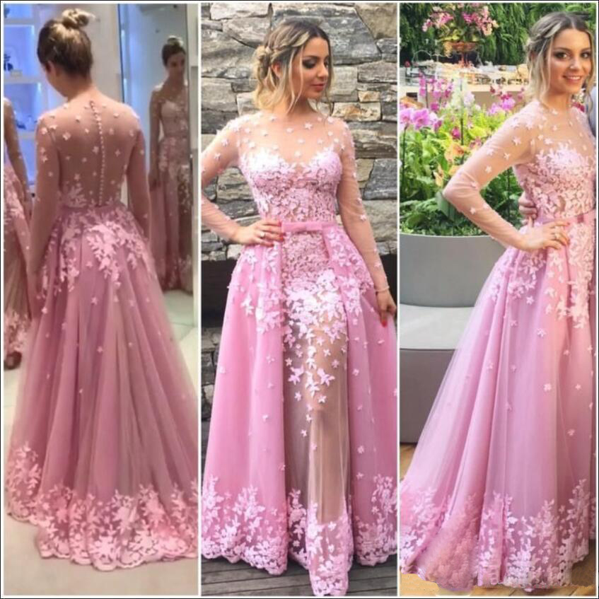 Hot Pink Tulle Prom Dresses, Appliques Long Sleeve See Through Prom ...